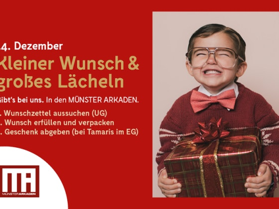 Mach einem Kind in der Weihnachtszeit eine Freude und nimm an unserer Charity-Aktion in den MÜNSTER ARKADEN teil.