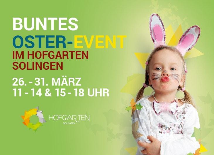 Buntes Oster-Event - Kleines Mädchen mit Hasenohren zu sehen