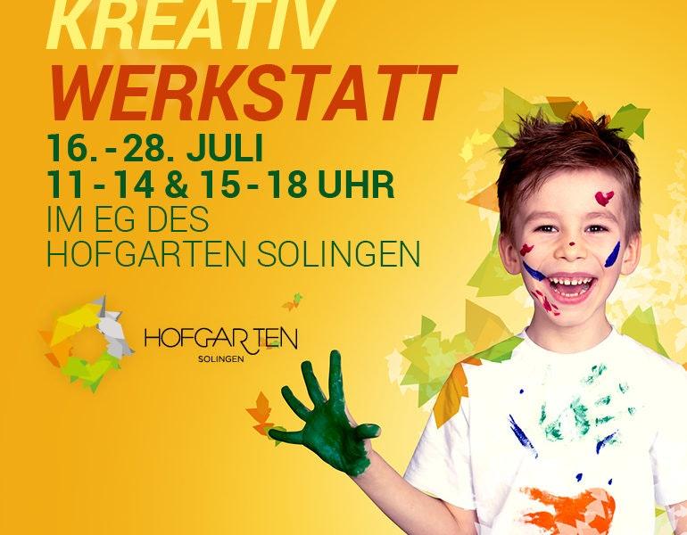 Kreativ Werkstatt im Hofgarten. Diese Aktion ist für die Kinder gedacht und findet vom 16.-28.07.2018 täglich von 11-14 und 15-18 Uhr statt
