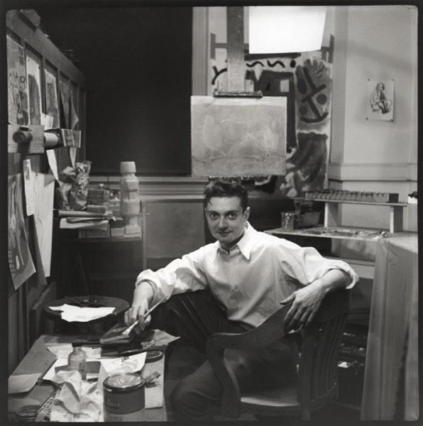 No seu estúdio em Columbus, Ohio, em 1949.