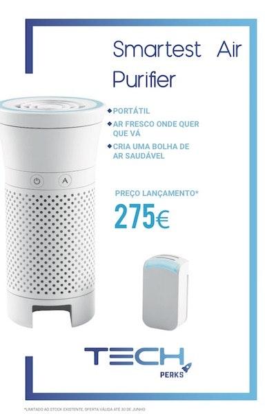 Alergias ao pó, a ácaros, a pêlos de animais? A solução está aqui: um purificador de ar portátil que elimina até 99% das bactérias e vírus presentes no ar que respiramos.