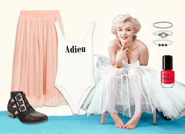 1. LADY LIKE | Ultra feminino, este look combina a delicadeza do ballet (presente no body e na saia de tule) com a irreverência dos botins e dos acessórios (em preto e prateado).