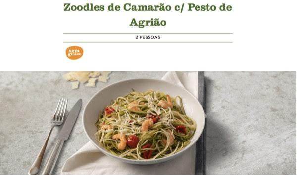 3. Zoodles de Camarão c/ Pesto de Agrião