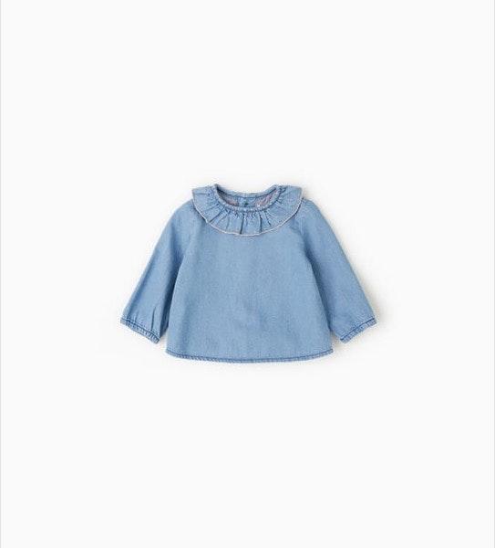 Camisa recém-nascido, antes era a 12,95€ e agora é a 5,99€, na Zara Kids