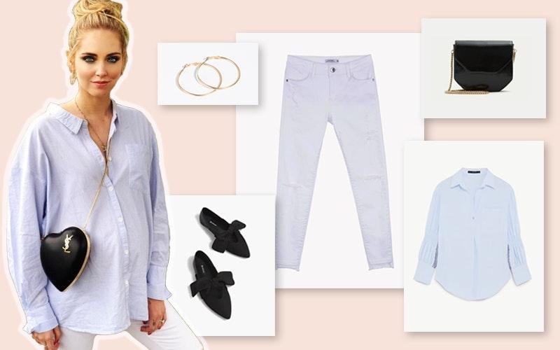 Chiara Ferragni | A italiana optou por um look descontraído, com uma camisa e uns jeans em tons muito claros, e tornou-o mais interessante através da escolha de acessórios-chave em tons de dourado e preto.