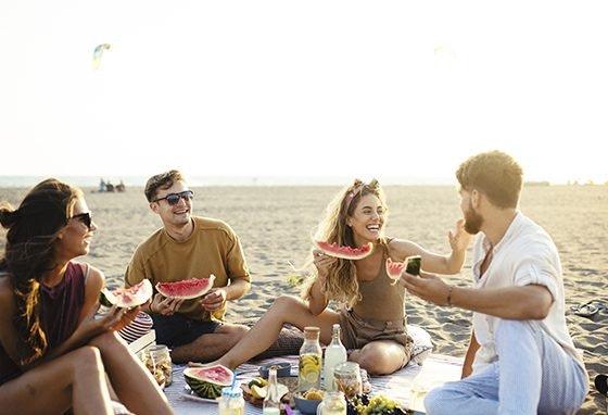 comer na praia
