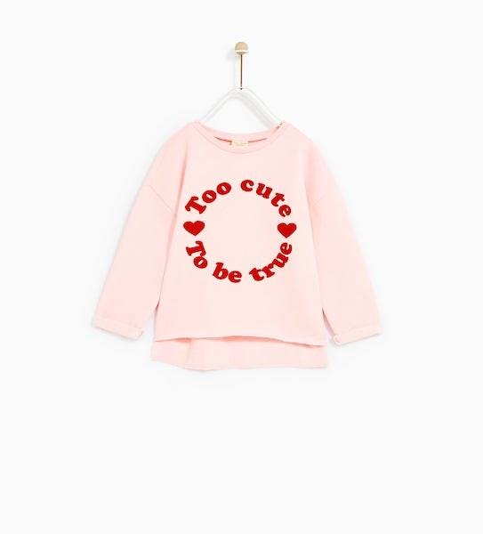 Sweatshirt, Zara Kids, antes a 9,95€ agora a 5,95€