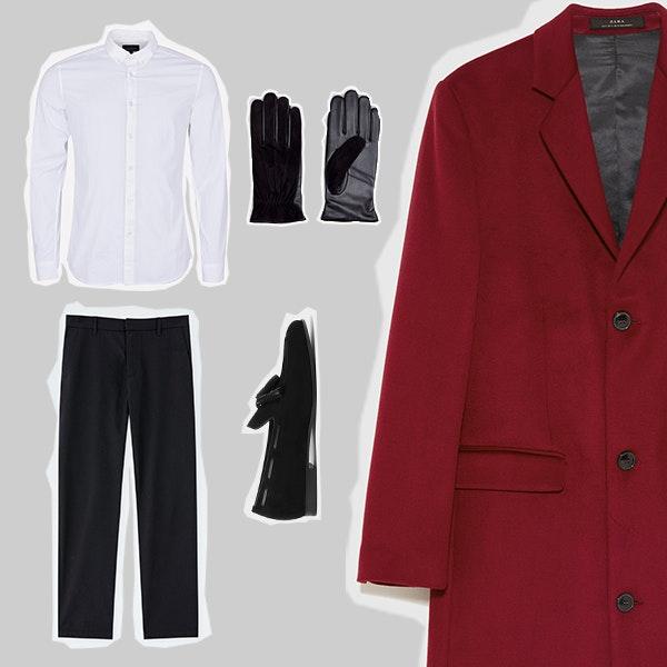 1 | A camisa branca, os mocassins e as calças, bem como a conjugação de materiais nas luvas, fazem deste um look hiper clássico. O casaco  corta a sobriedade e acrescenta um ponto de cor. Esta é uma boa opção para levar a uma festa ou a um jantar especial.
