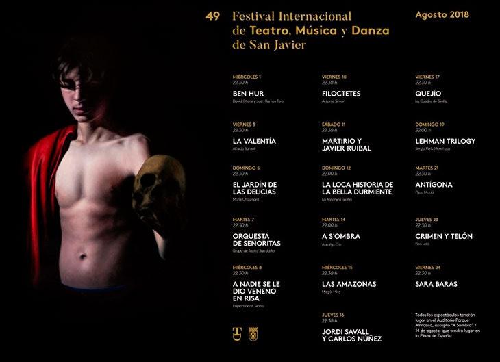 Programación del Festival de Teatro, Cine y Música en San Javier