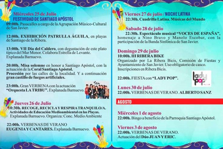 Programa de fiestas en Santiago de la Ribera