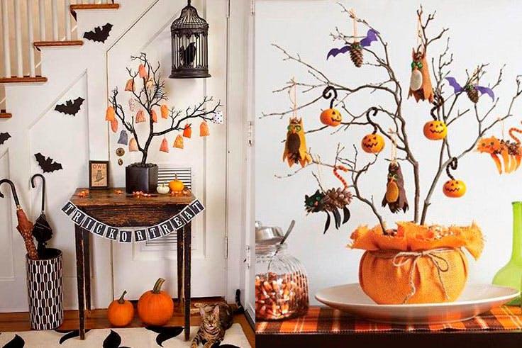 Decoración con árbol de Halloween