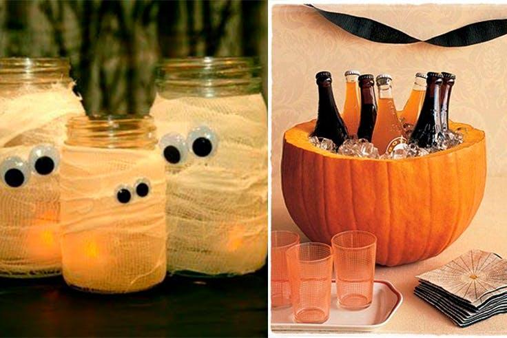 Decoración de Halloween con velas y calabaza