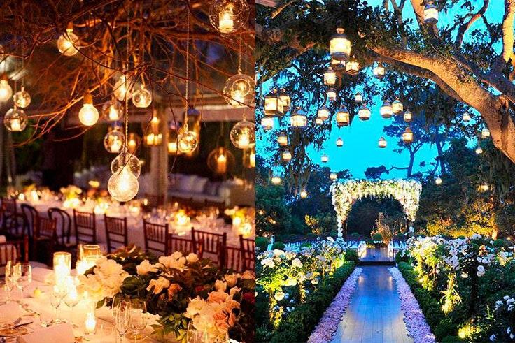 Tendencias de decoración para bodas de noche