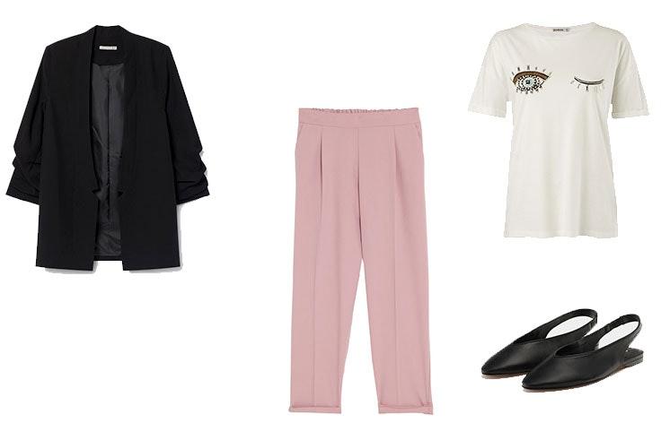 Look de primavera con pantalones rosas