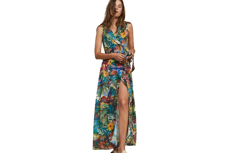 Vestidos largos de flores- vestido de Oysho de colores