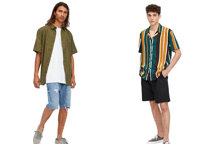 Camisa microestampado bordado (17,99€) yCamisa viscosa solapa rayas (19,99€) Pull&Bear.