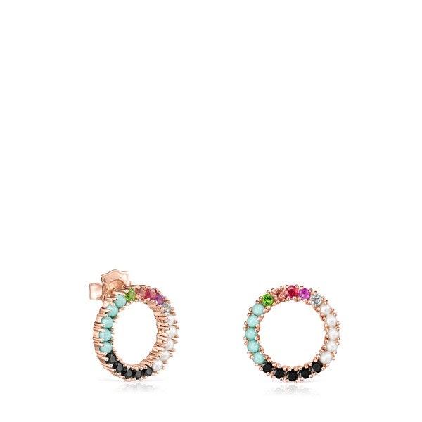 Brincos grandes Straight disco em Prata Vermeil rosa com Pedras Preciosas, 149€