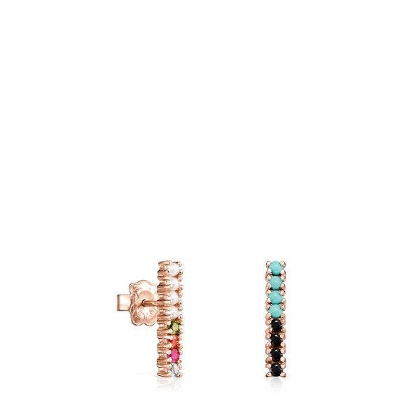 Brincos Straight barra em Prata Vermeil rosa com Pedras Preciosas, 82€