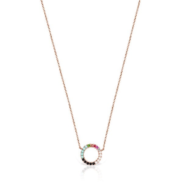 Colar Straight disco em Prata Vermeil rosa com Pedras Preciosas, 129€