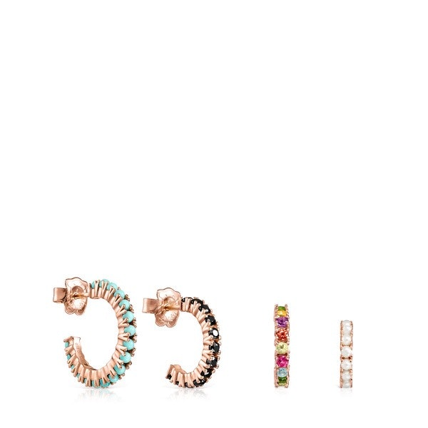 Pack de Brincos Straight em Prata Vermeil rosa com Pedras Preciosas, 149€