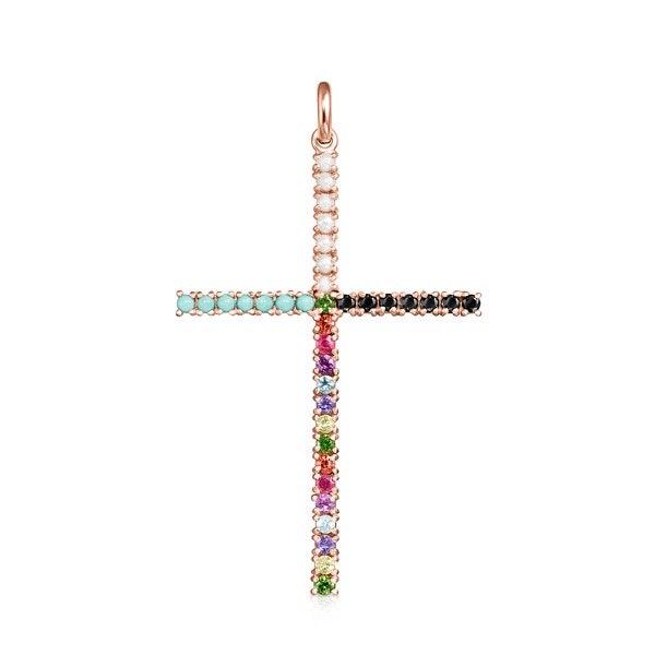 Pingente Straight cruz em Prata Vermeil rosa com Pedras Preciosas, 129€