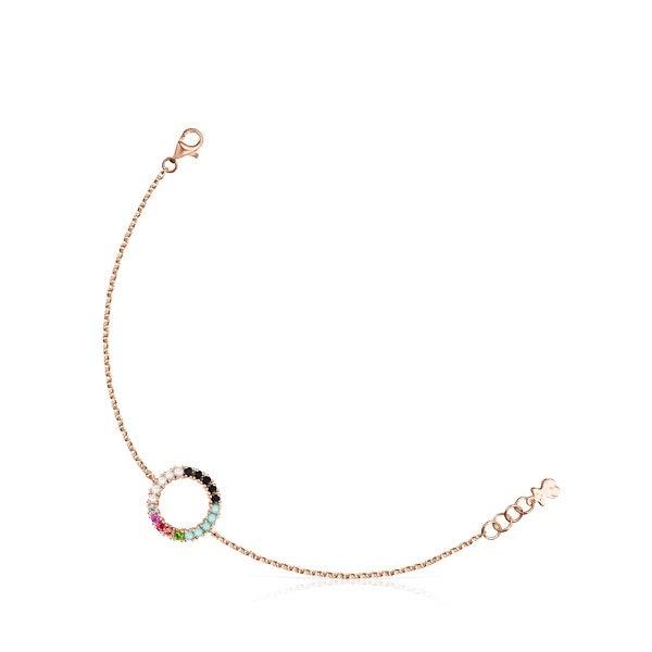 Pulseira Straight disco em Prata Vermeil rosa com Pedras Preciosas, 99€