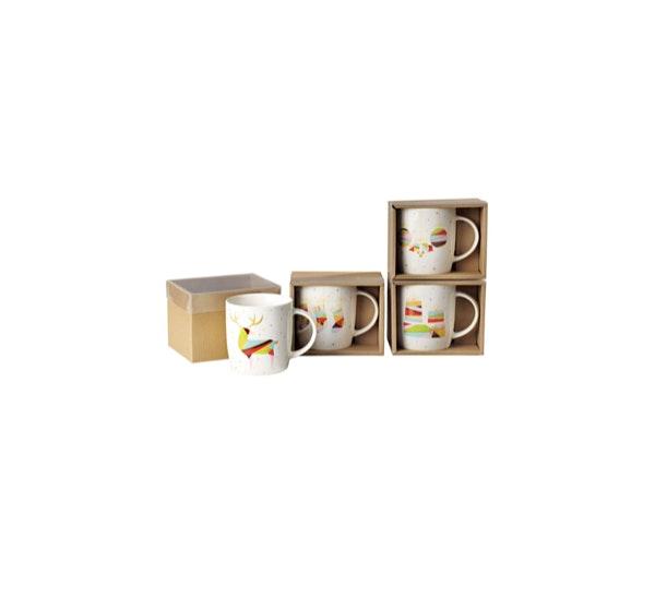 Ora rena na caneca | As canecas para o chá (que marca o final de refeição) podem substituir as chávenas e aligeirar o ambiente. Principalmente se forem natalícias e divertidas, como são estas. | Caneca Continente Kasa, 3€