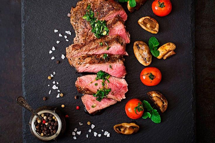 Carne, verduras, saludable, alimentación