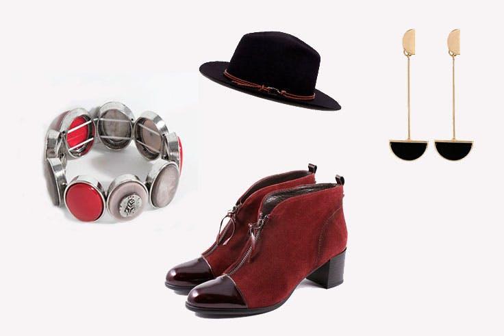accesorios botines rojos