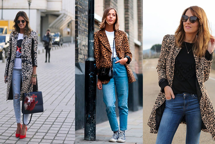 Look urbano con abrigo de animal print
