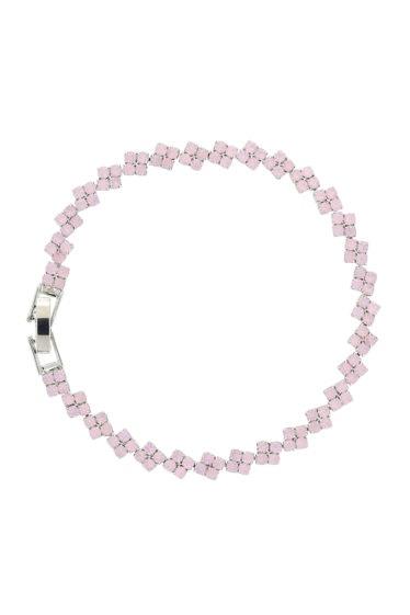 pulsera rosa de flores en cadena