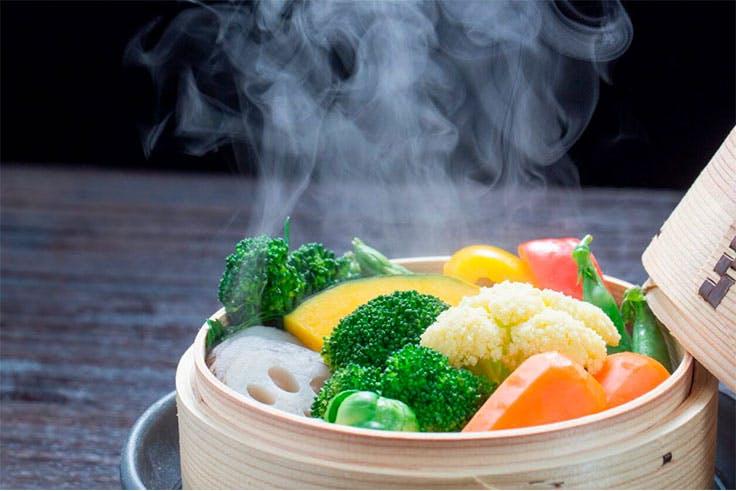 Verdura cocinada al vapor