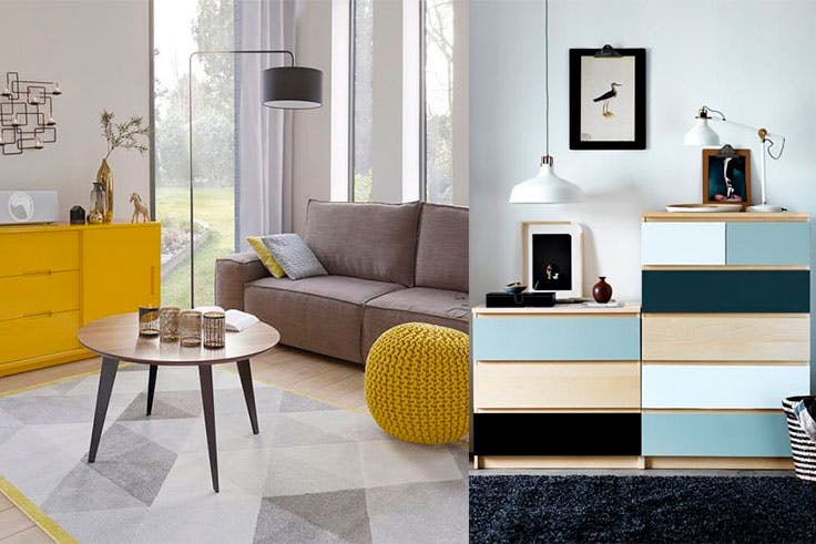 Toma ideas de estos ejemplos de decoración 'color block'