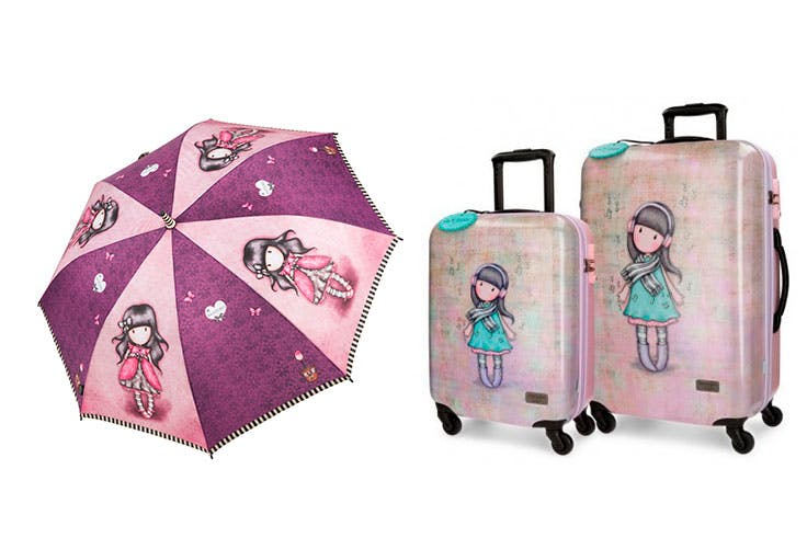 Promoción de paraguas y maletas de la colección Gorjuss