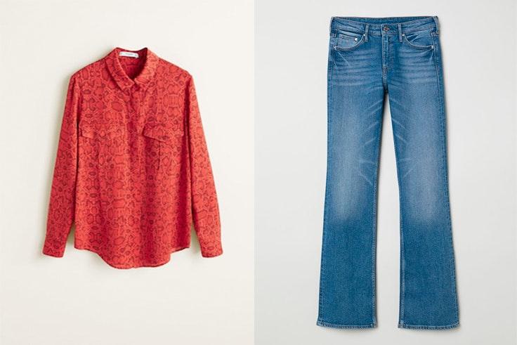 camisa-roja-estampado-serpiente-mango-pantalon-vaquero-hm