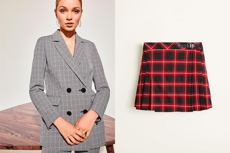 chaqueta-cuadros-cortefiel-falda-cuadros-roja-mango
