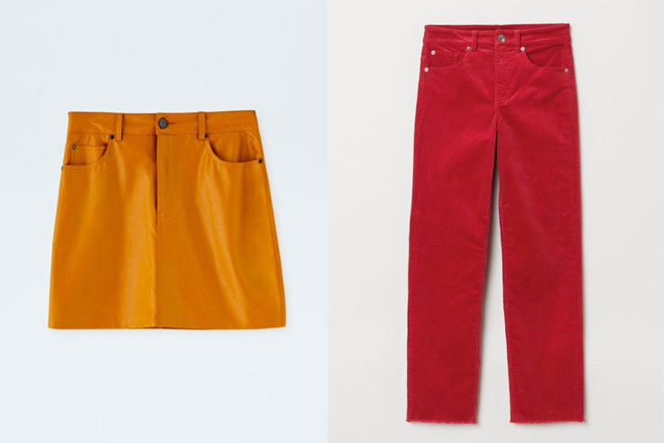 falda-amarilla-pull-and-bear-pantalon-rojo-hm-color-block