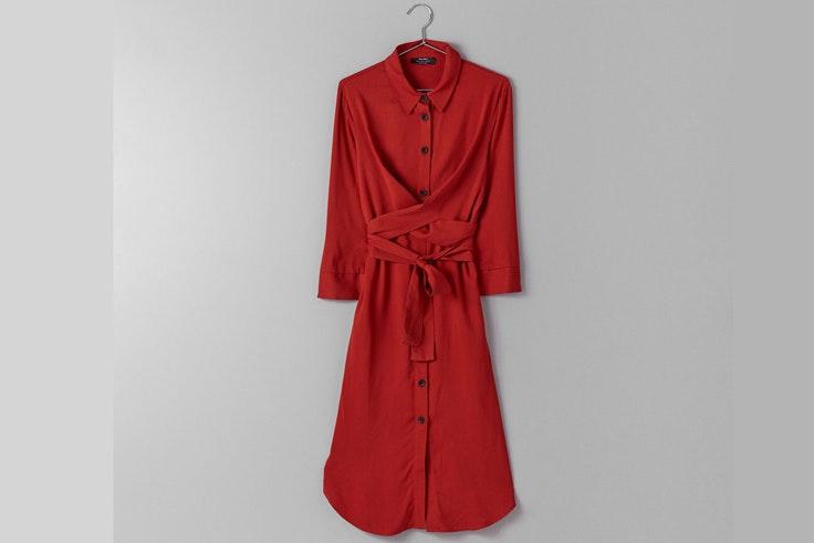 vestido-rojo-camisero-bershka