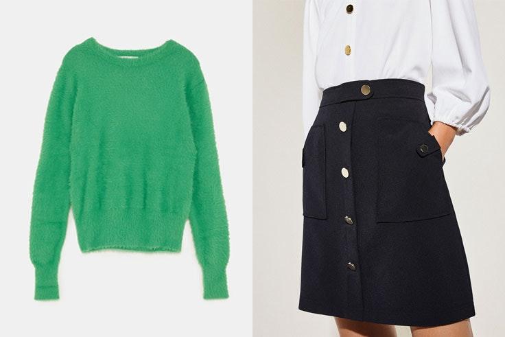botines-serpiente-conjunto-jersey-verde-zara-falda-negra-cortefiel
