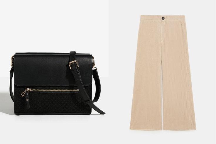bolso-negro-bandolera-parfois-pantalon-pana-color-beige-zara