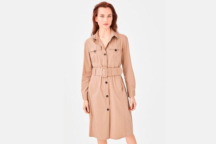 vestido-beige-camisero-cinturon-cortefiel
