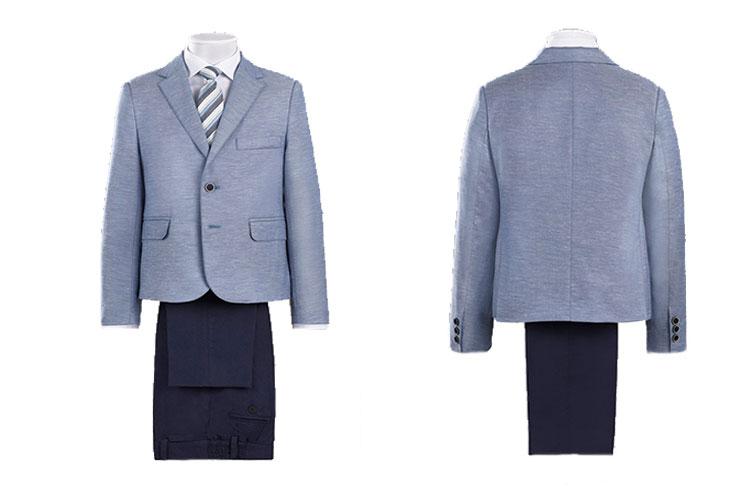 trajes de comunión de lino para niños azul