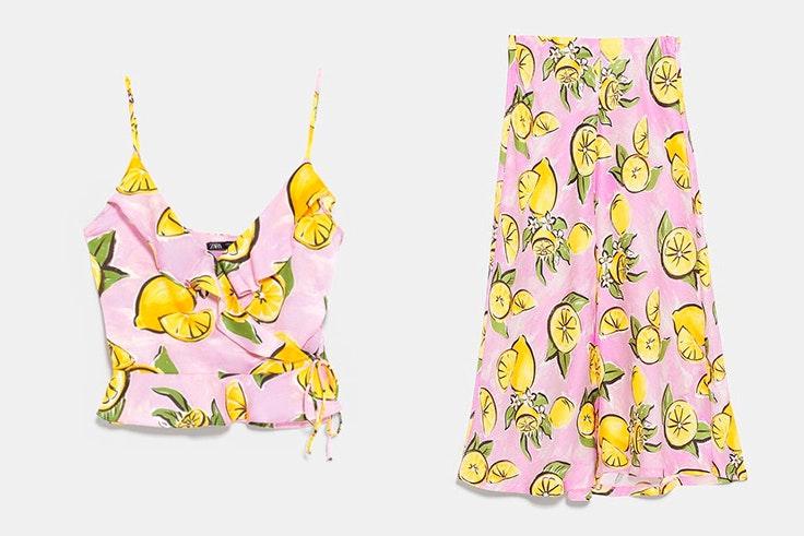 Conjunto rosa con estampado de limones de Zara