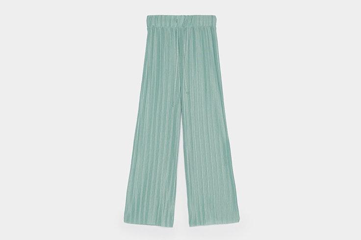 pantalon-largo-plisado-verde-bershka