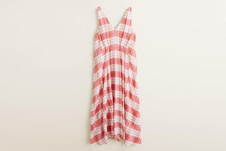 vestido-estampado-cuadros-rosa-mango