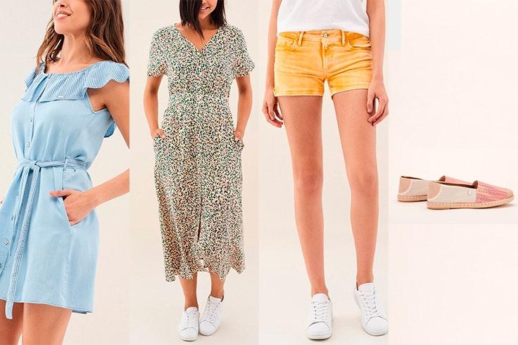 Vestido vaquero (55,97€), Vestido print (63,36€), Short push up (49,95€), Alpargatas color lavado (34,97€).
