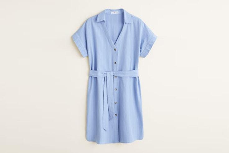 vestido corto azul camisero mango