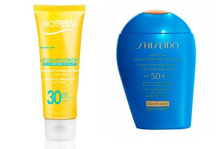 Biotherm con protección solar 30 (6,95 €) y crema Shiseido con protección SPF50 (31,20 €).