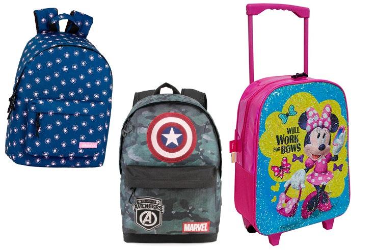 Mochila Los Vengadores (29,95€), trolley de Minnie (26,50€) y mochila de a Benetton (19,95€).