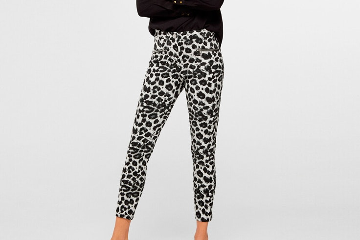 pantalones largos animal print cortefiel